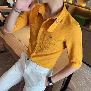 Мужская летняя рубашка с коротким рукавом, желтая, британский стиль, сплошной цвет, облегающая, Повседневная рубашка, выпускной, клубный смо...