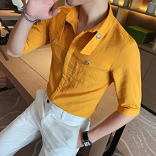 Summer Men Dress Half Sleeve Shirt Yellow British Style Soli