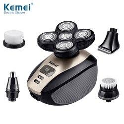 Kemei الولايات المتحدة Km-1000 خمسة في واحد الروتاري خمسة القاطع رئيس ماكينة حلاقة الوجه التطهير أداة الأنف الشعر المتقلب مجموعة