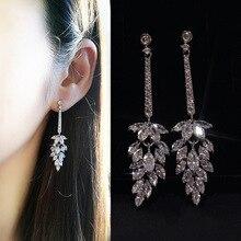 Korean Earrings Long Leaf Bling Zircon STone 925 Sterling Silver Color Stud Earrings For Women Fashion Jewelry Korean Earrings big bling square zircon stone silver stud earrings for women korean earrings fashion jewelry 925 silver