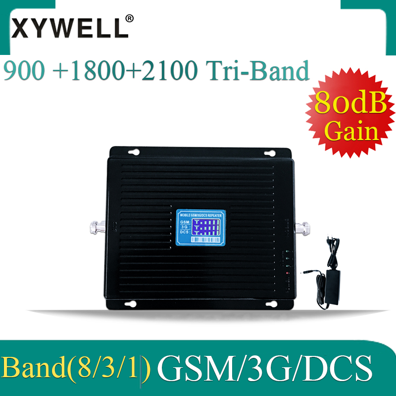 80dB Gain Gsm Signal Booster 900 1800 2100 Mhz 2G 3G 4G Tri Band Mobile Signal Booster WCDMA LTE GSM Cellular Amplifier