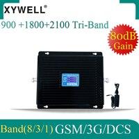 80dB Verstärkung gsm signal booster 900 1800 2100 mhz 2G 3G 4G Tri-band Handy Signal Booster WCDMA LTE GSM Cellular Verstärker