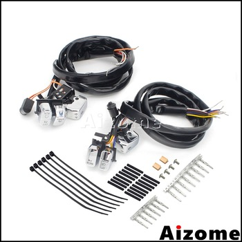 """Motorcycle 48"""" Wiring Harness Switch Button Kit For Harley 2007-2010 Sportster XL1200 XL883 48 Iron 883 Low Forty-Eight Roadster"""