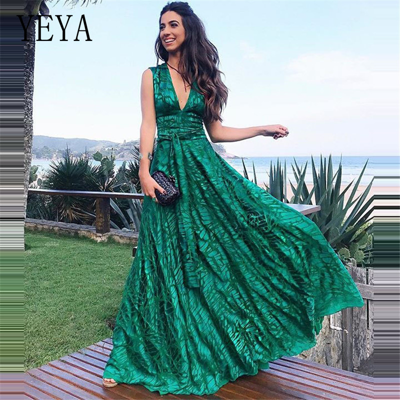 YEYA Women Formal Gown Wedding Party Prom Long Dress Sexy Hollow Out V Neck Sleeveless Maxi Loose Elegant Green Dresses Vestidos