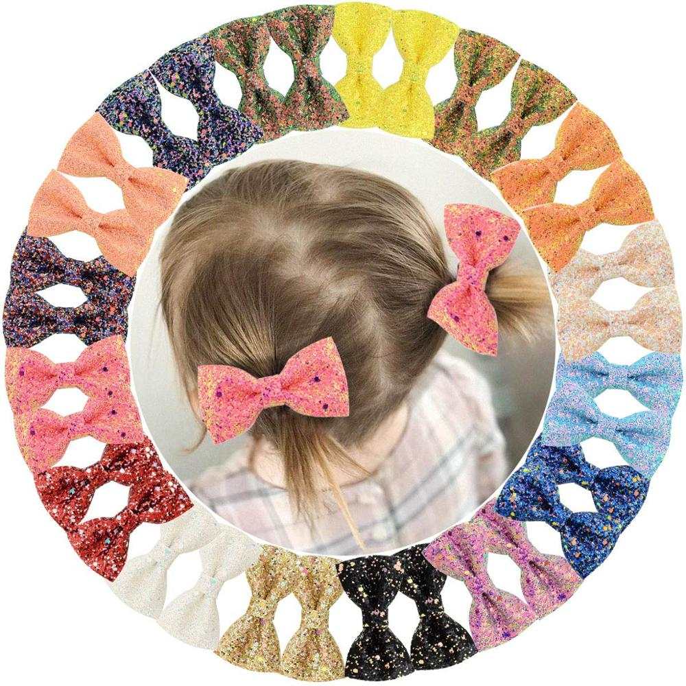 "32 Pcs 3"" Glitter Hair Bows For Girls Sparkly Sequin Bows With Alligator Clips Colorsful Hair Bows Clips For Toddlers Kids Teens"