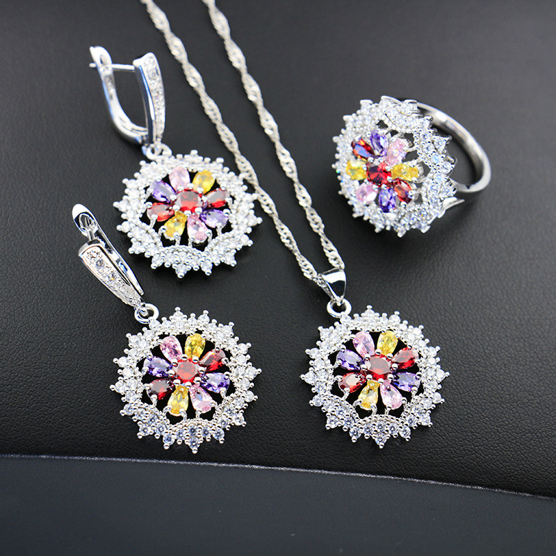 GZJY 925 Silver Flower Cubic Zirconia Wedding Rings Drop Earrings Necklace Pendant Jewelry Sets for Women Wedding Bridal Party(China)