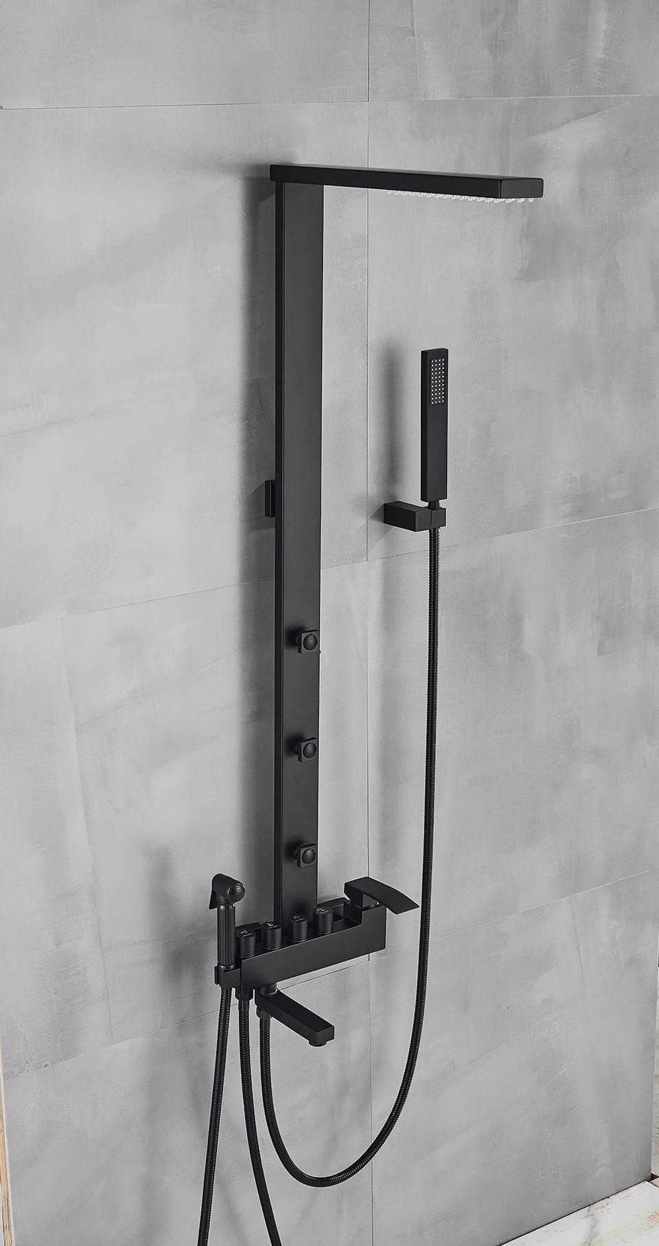 Hf8ea1806eb61418d9ae394fc1d89f5e3k Uythner Luxury Matte Black Bathroom Faucet Bath Rain Shower Faucet Wall Mounted Bathtub Shower Mixer Bidet Tap Shower Set Mixer