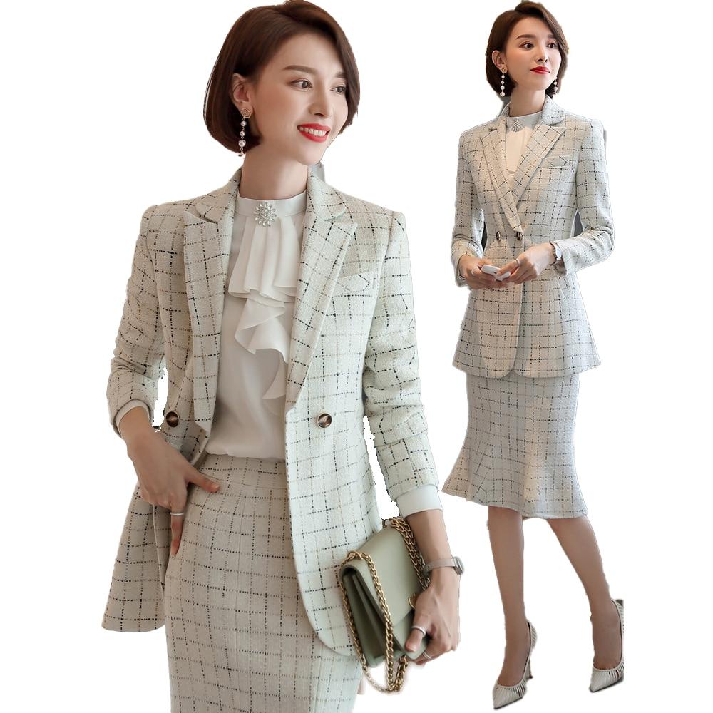Elegante Women's Skirt Suits Plaid Blazer Suits Office Wear Formal Sets Blazer Trumpet / Mermaid 2 piece Set OL Jacket & Skirt