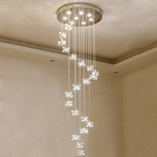modern long crystal chandelier LED stairs light spiral design home decoration crystal lighting(China)