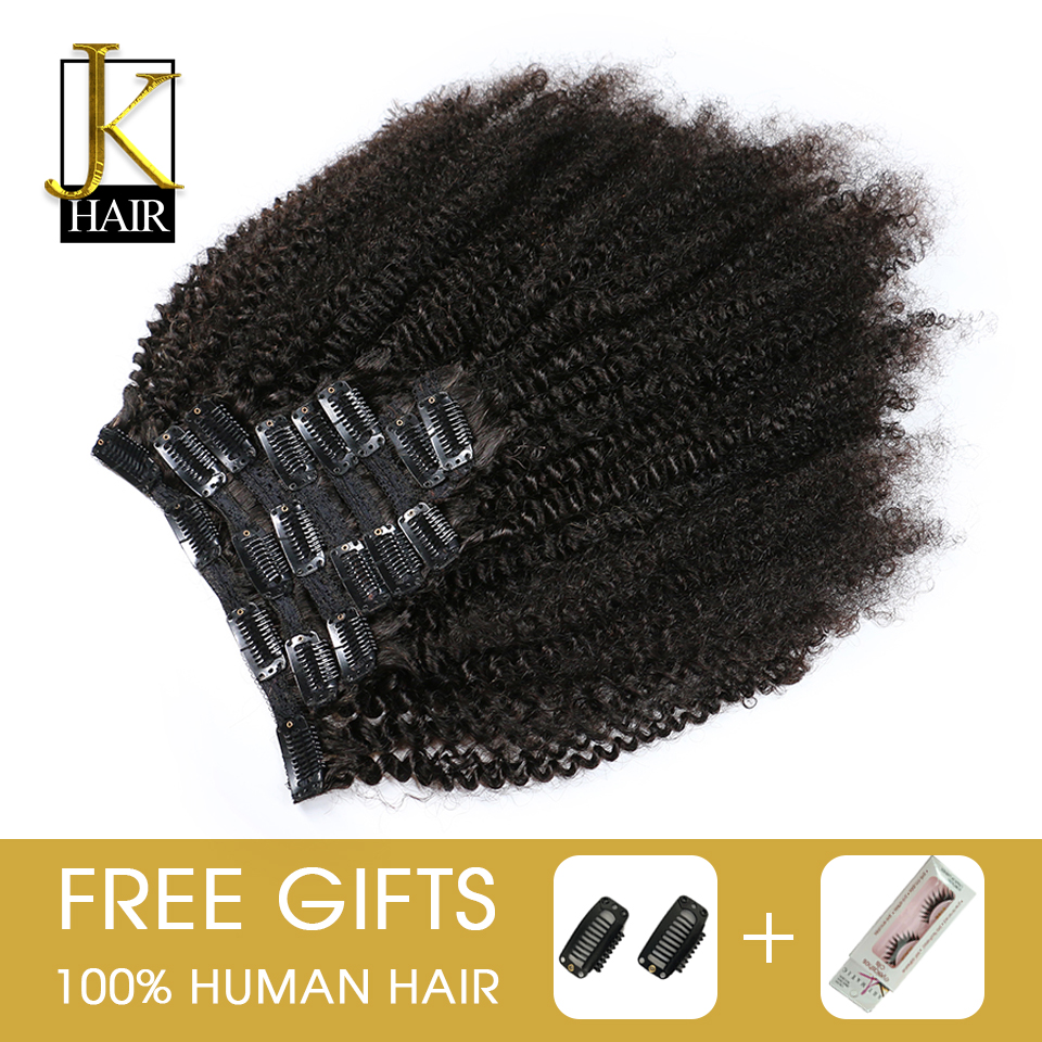 JK Brazilian 4b 4c Afro Kinky Curly Remy Clip In Human Hair Extensions Natural Color Curly Clip Ins 8Pcs/Set 120G Ship Free