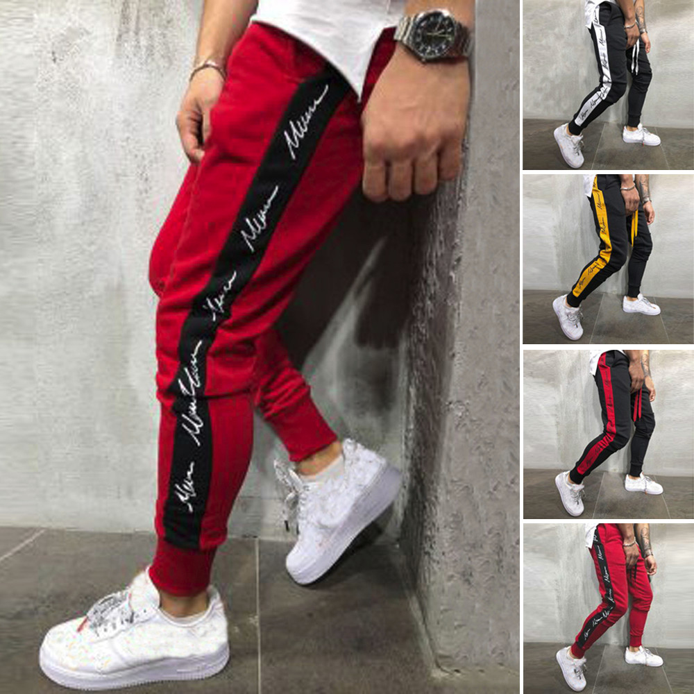 1 PC Mens Autumn Winter Joggers Patchwork Casual Comfortble Drawstring Sweatpants Cotton Blend Pants L0916