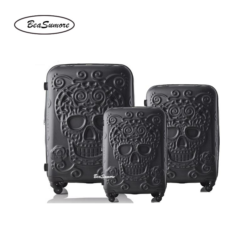 Beasumore Skull-Rolling-Luggage-Sets Wheels Spinner Suitcase Password-Trolley 20inch-Cabin