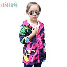 Girls Hoodie Waterproof Coat Waist-Pockets Pleated Kids Camouflage Long Purple Sun-Protection