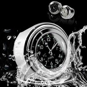 """Image 5 - Motocykl zegar kwarcowy 7/8 """"wodoodporny chromowany uchwyt do kierownicy rowerowej zegarek aluminiowy świecący zegar uniwersalny Moto Accessori Bla"""