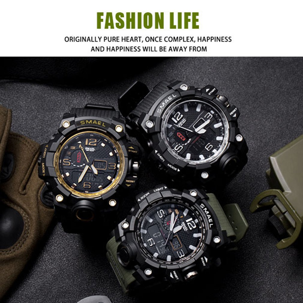 SMAEL Mens Waterproof LED Digital Chronograph Watches For Man Sport Male Clock Stop Army Military Watch Multifunction Outdoor