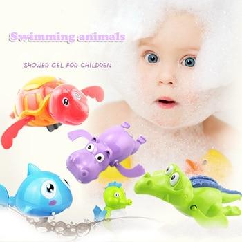 Newborn Cute Cartoon Animal Tortoise Baby Bath Toy Infant Swim Turtle Chain Clockwork Classic Toys Kid Educational Toys недорого