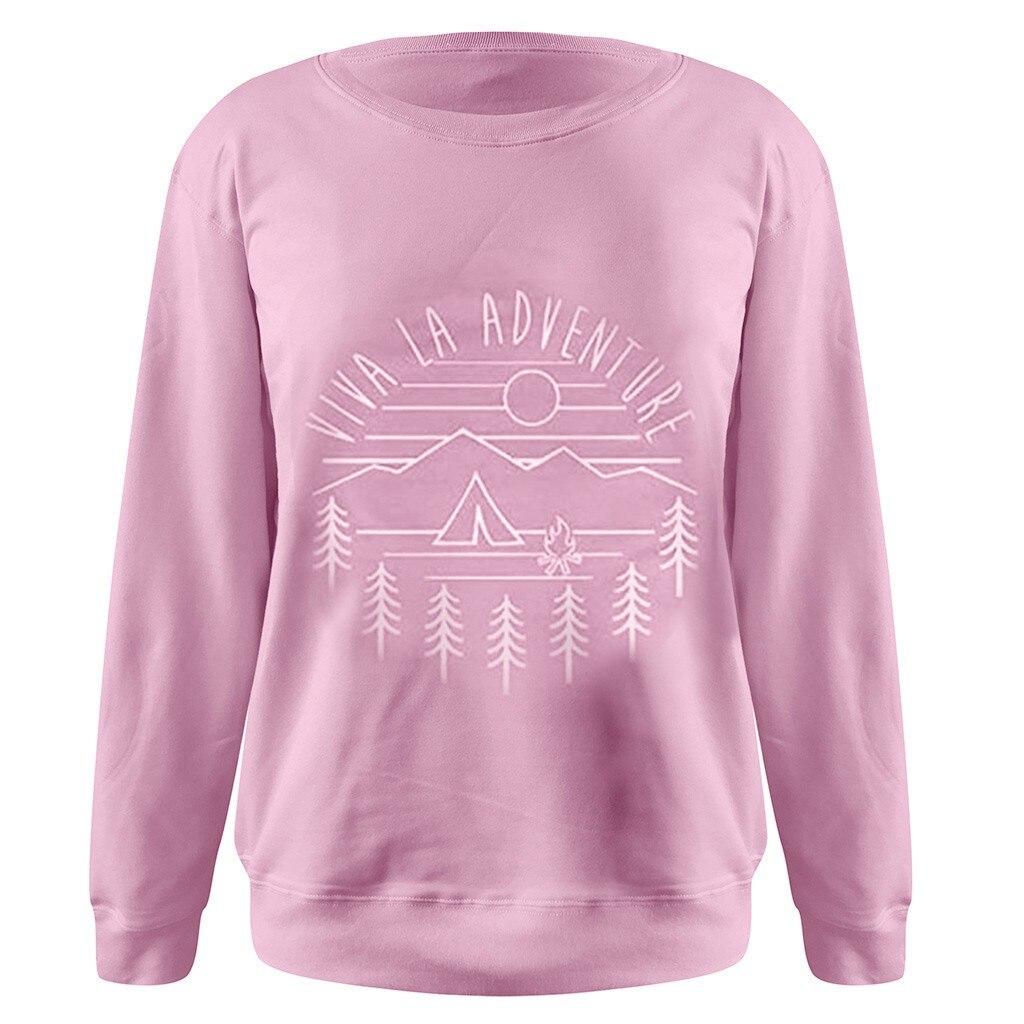 SAGACE Viva La Adventure Ladies Casual Warm Round Neck Print Top O-neck Sweatshirts Female Autumn Winter  Oversize Long Sleeve