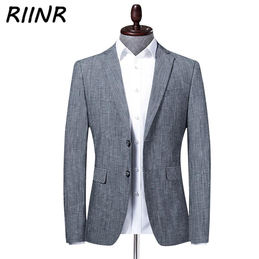 Riinr Spring Autumn Brand Men Blazer Fashion Slim Suit Business  Clothing High Quality Men's Suit M-4XL