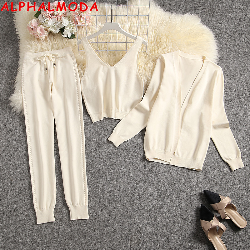 ALPHALMODA New Arrived Women 3pcs Sets Knitting Cardigans Vest Pants Solid Ladies Casual Fashion Loungewear Suit