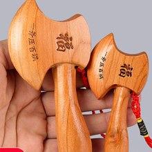 Zocdou 10cm madeira pêssego machado pingente artesanato doméstico usado para a inauguração, abertura de negócios, casamento
