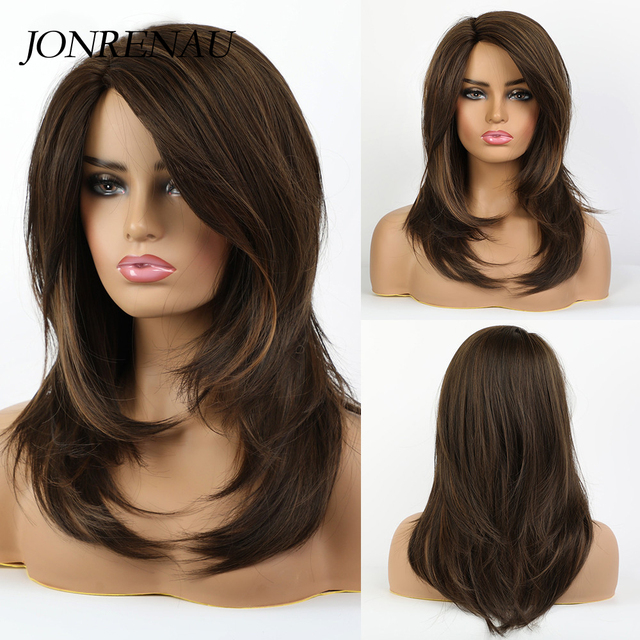 Jonrenau耐熱ロング自然なウェーブヘアー合成茶色の髪かつらのための前髪と白/黒女性