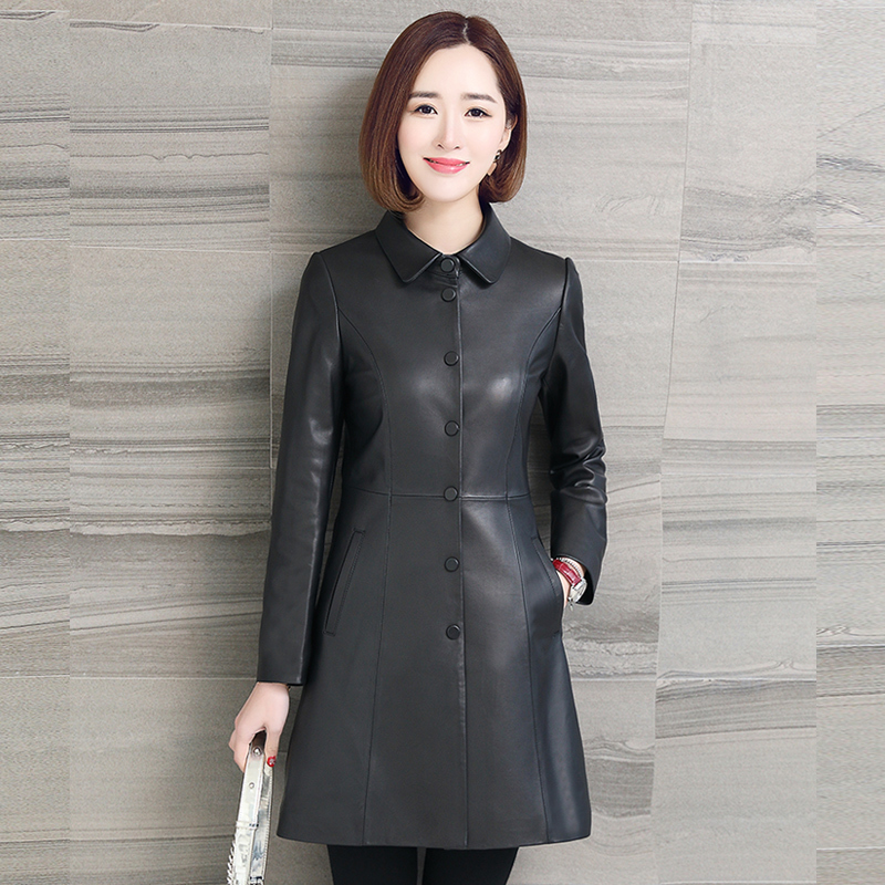 Natural Sheepskin Jacket Women Genuine Leather Trench Coat Female Long Spring Autumn Outwear Plus Size Clothes LWL1484