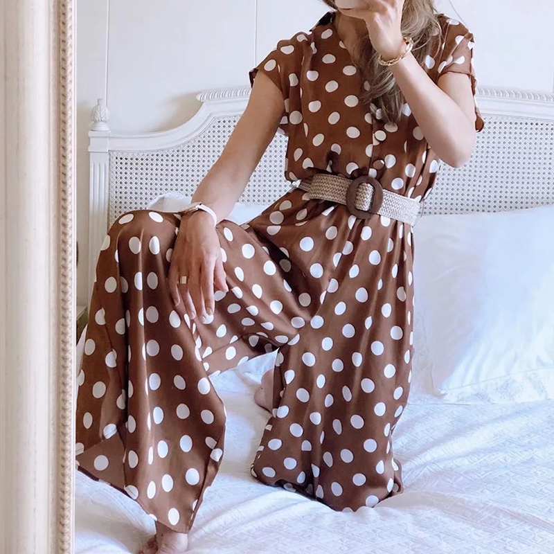 Hf8eb57060c944b008924338be0e10a14B - Elegant women polka dots looses jumpsuits with belt summer fashion ladies vintage boho rompers female chic jumpsuit girls