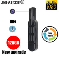 Jozuze t189 mini câmera hd 1080p câmera vestível, caneta de corpo digital, mini dvr pequena câmera de vídeo dv, suporte de micro câmera 128gb
