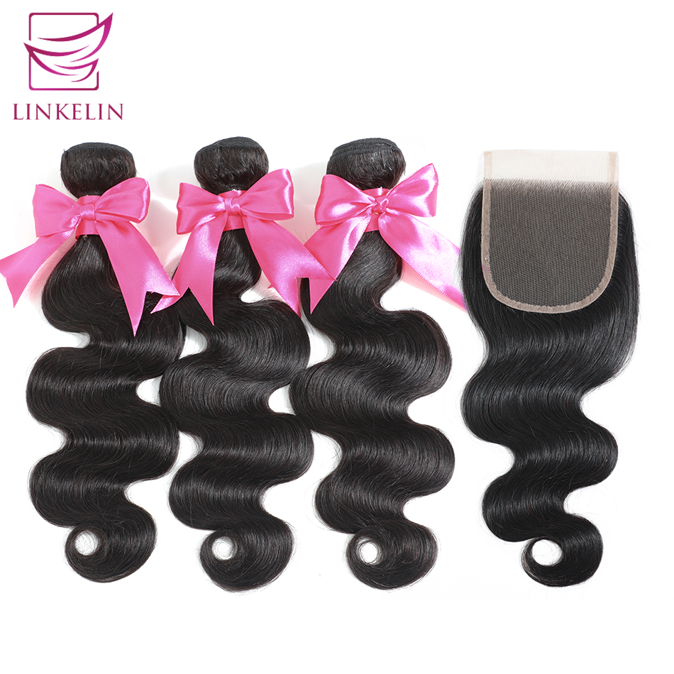 LINKELIN HAIR Body Wave Human Hair Bundles With Closure Bundles With Frontal Mongolian Body Wave Hair Weave Bundles With Closure