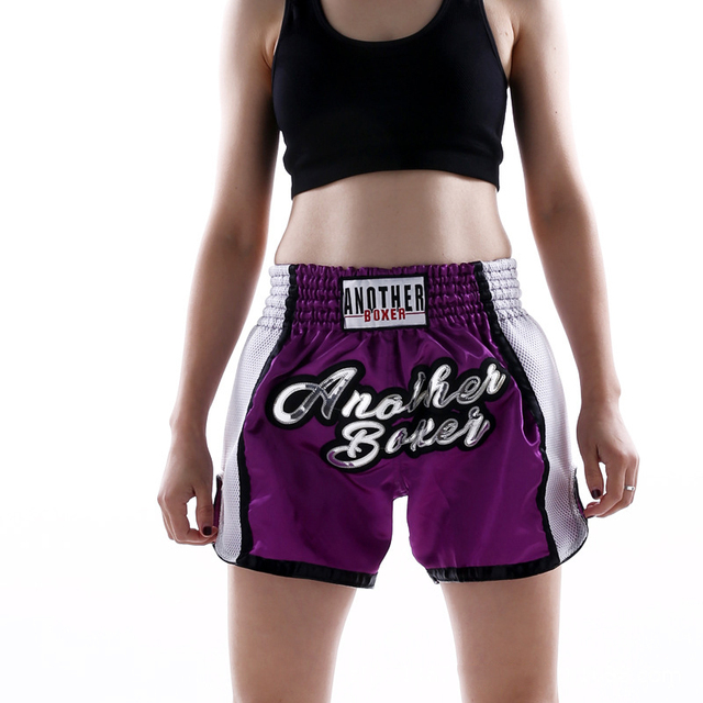 2021 Wholesale Embroidered Letter Contrast Color Splice Sports Women Muay Thai Shorts Custom Boxing Shorts Wholesale 6