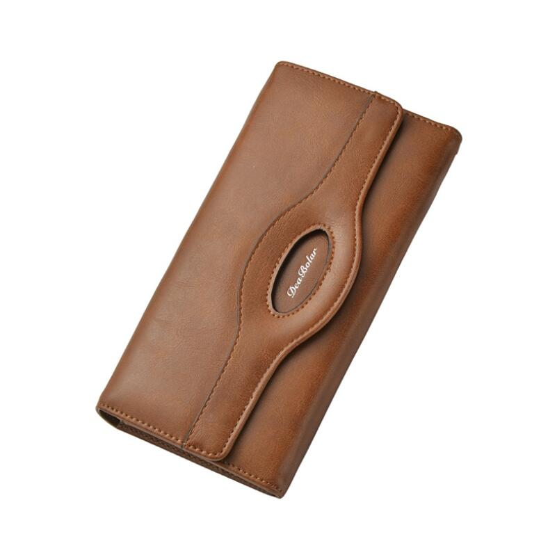 Wallet 2020 Fashion PU Leather Concise Money Bag High Capacity Purse Retro Long Section Card Holder Multifunction Phone Bag