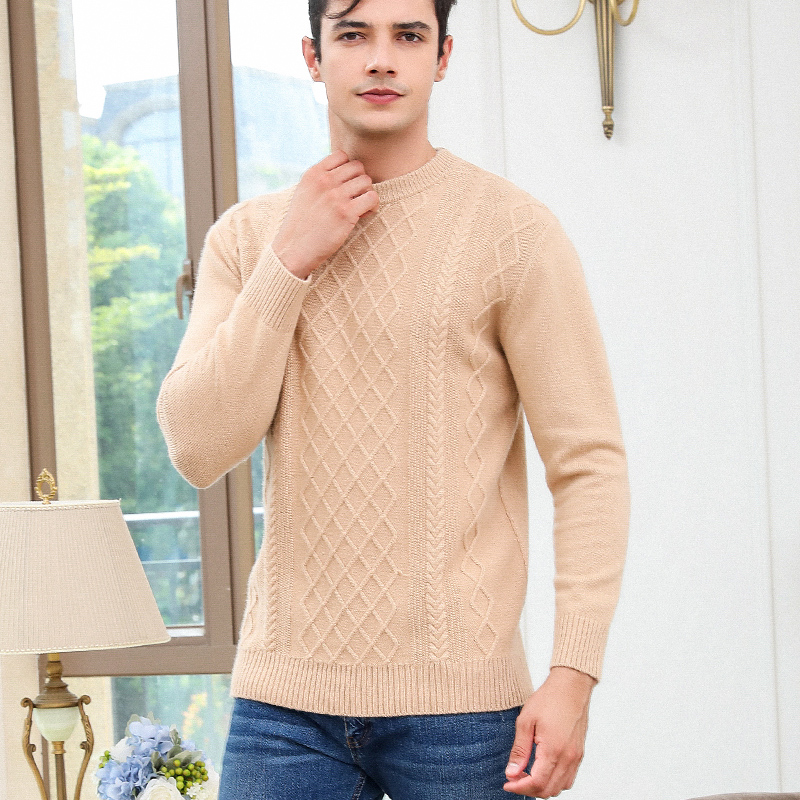 Winter Thick Sweater Men Goat Cashmere Pullovers 100% Knitted Jumper O-Neck Warm Dark Blue Man Clothes Long Sleeve Bottoming Top