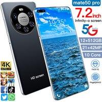 2021 Latest Smart Phone Mate 50 Pro 12Gb Ram 512Gb Rom Dual SIM Unlocked Smartphone Android 10.0 Deca Core 4G/5G Mobile Phones 1
