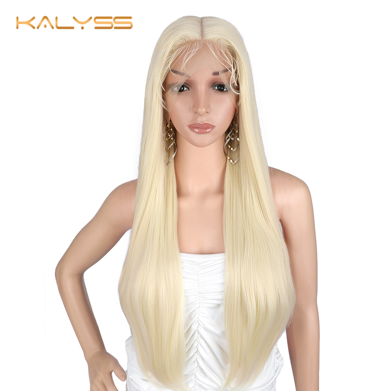 Kalyss 28 inches 13x6 Lace Front Wig for Black Women Ombre 613 Blonde Synthetic Wigs Long Silky Straight Yaki Lace Frontal Wigs|Synthetic Lace Wigs|Hair Extensions & Wigs -