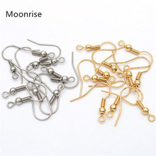 50pcs 316 Stainless Steel Hypoallergenic Earring Hooks Fish Earwire with Coil and Ball for Jewelry Making 20x20mm