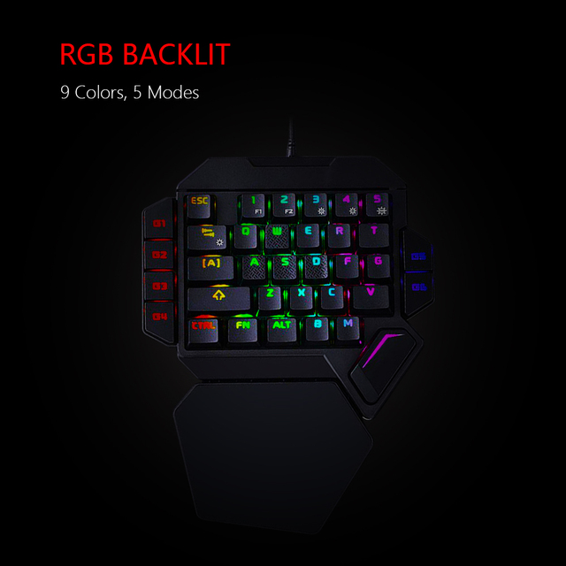 RedThunder One-Handed Mechanical  Keyboard RGB Backlit 35 Keys Portable Mini Keyboard Work for PS4,Xbox One,Laptop,PC Game 2