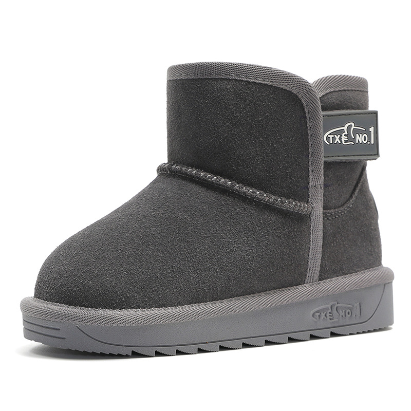 New Winter Children Boots Thick Warm Shoes Cotton-Padded Suede Buckle Boy Girl Boots Boys Snow Boots Kids Shoes Genuine Leather