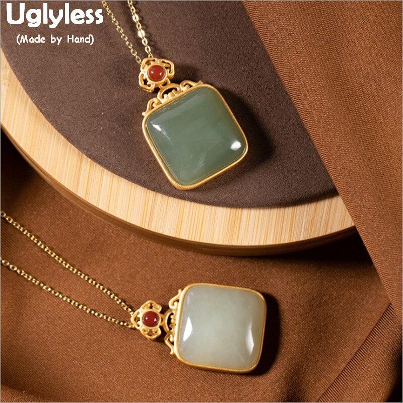 Uglyless rien ne se passe colliers de pierres précieuses vierges femmes pendentifs de Jade jaspe carré + chaînes 925 Bijoux en or plaqué argent P1055