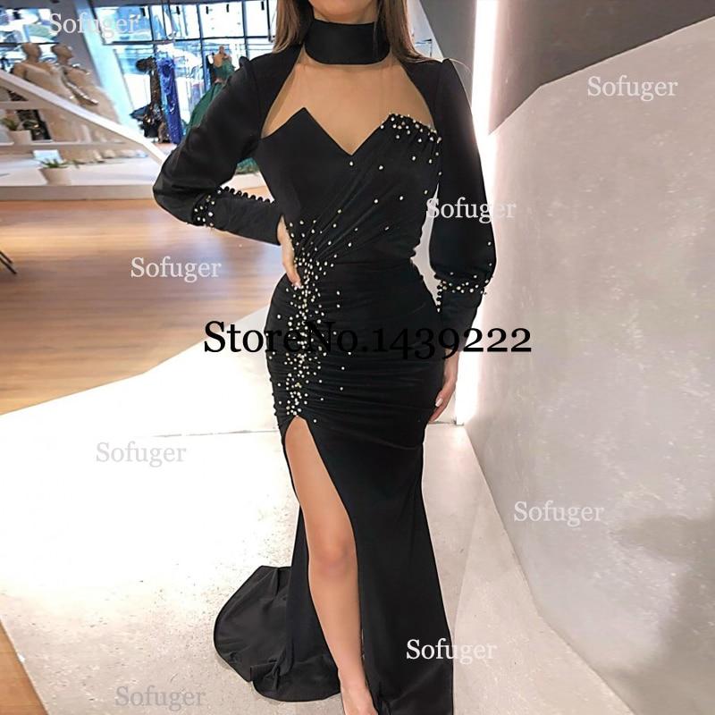 Black Satin Pearls Mermaid Evening Dresses Beads Muslim Saudi Arabic Special Occasion Robe De Soiree Formal Prom Custom Made