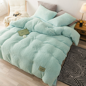 Super Warm Fleece Duvet Cover King Queen Size Solid Color Mint Green Winter Quilt Cover Flat Sheet Pillowcase Thick Bedclothes