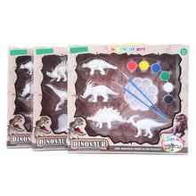 Nowe dzieci DIY kolorowanki do malowania zwierząt Model dinozaura rysunek Graffiti dzieci zestaw zabawek 4 sztuk tanie tanio Z tworzywa sztucznego YW1746 Unisex 3 lat Deski Kreślarskiej 4 pcs set DIY Coloring Painting Animal Dinosaur Model Dinosaur Model Drawing Graffiti