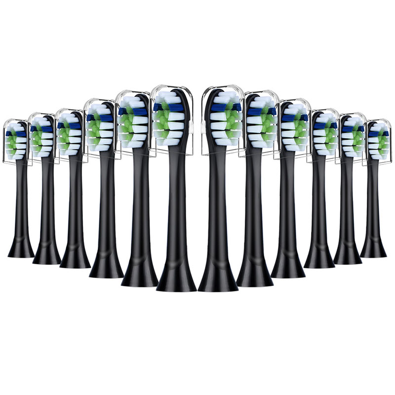 12pcs YH729 Black Replacement Brush heads with Covers for Phillips Sonicare Diamond Clean Electric Toothbrush Reminder Bristles image
