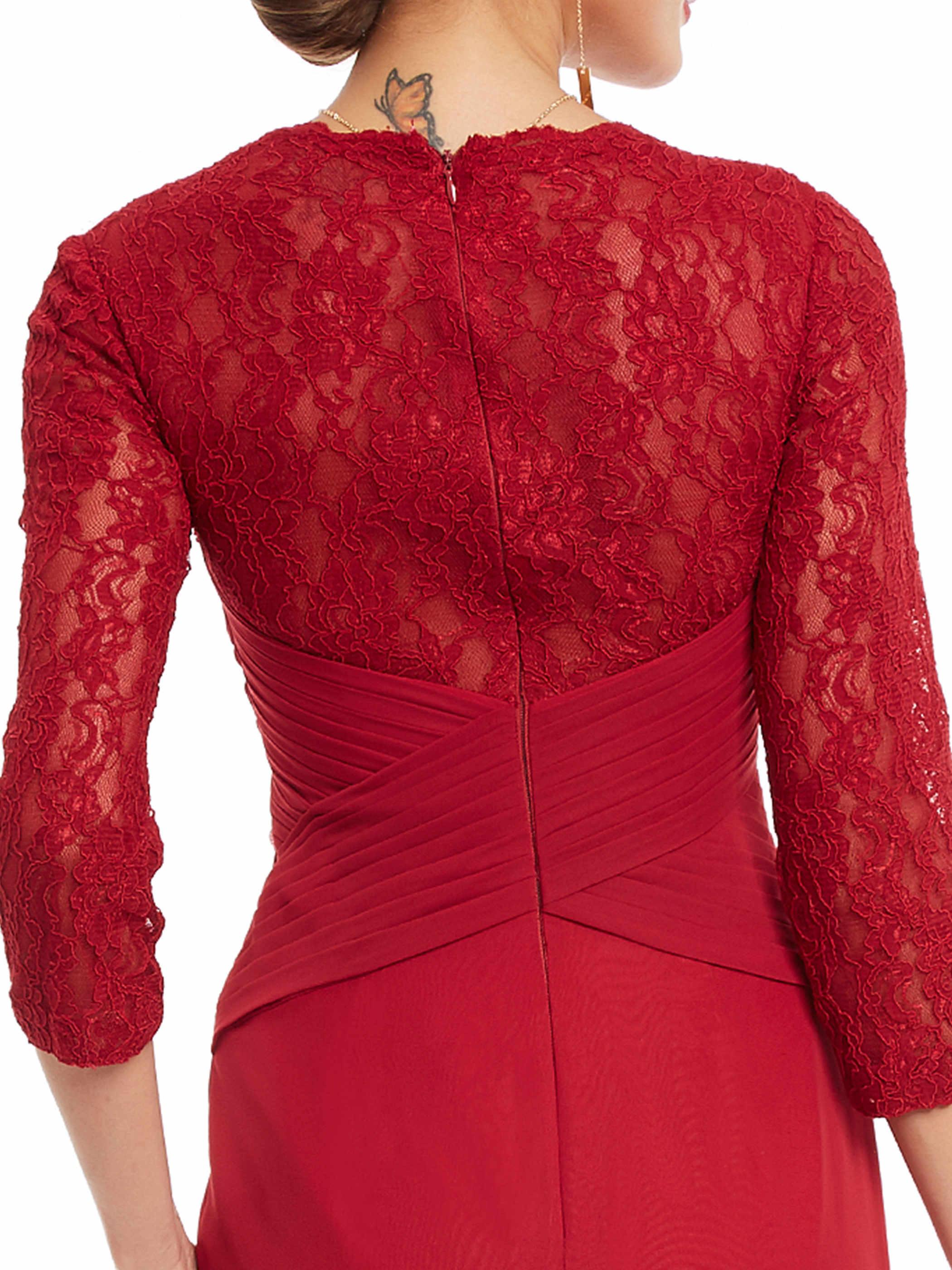 Dressv rękawy trzy czwarte suknia wieczorowa v neck bordowy kwiaty koronkowe sukienki damskie party plisy prosta długa suknia wieczorowa