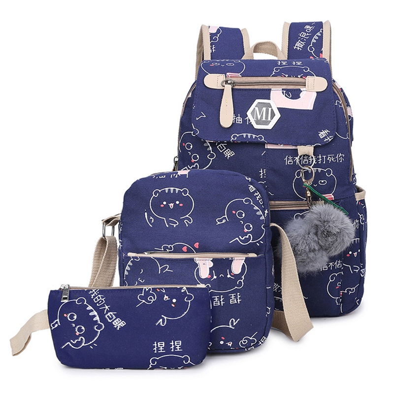 NEW-Usb Charging Canvas Backpack 3 Pcs/Set Women School Backpacks Schoolbag For Teenagers Man Student Book Bag Boys Satchel Purp