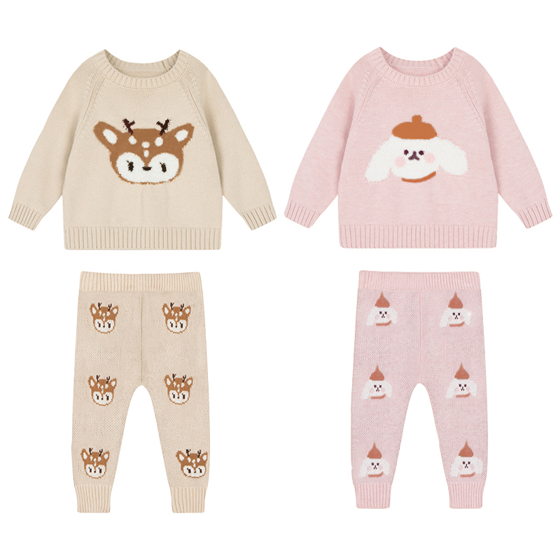 Baby Boy Girl Clothes Sets Spring Autumn Newborn Baby Girl Clothing Christmas Tops + Pant Outfits Baby Knit Sweater Baby Pajamas 2