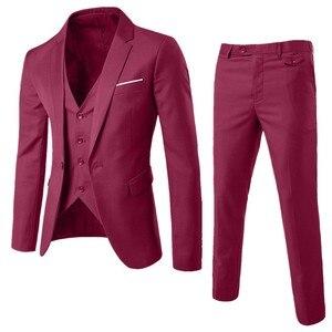 Luxury Business Blazer Plus Size Men Suit Set Blazer+Vest+Pants Suits Sets For Men's Wedding Office Classic Business Suit Set