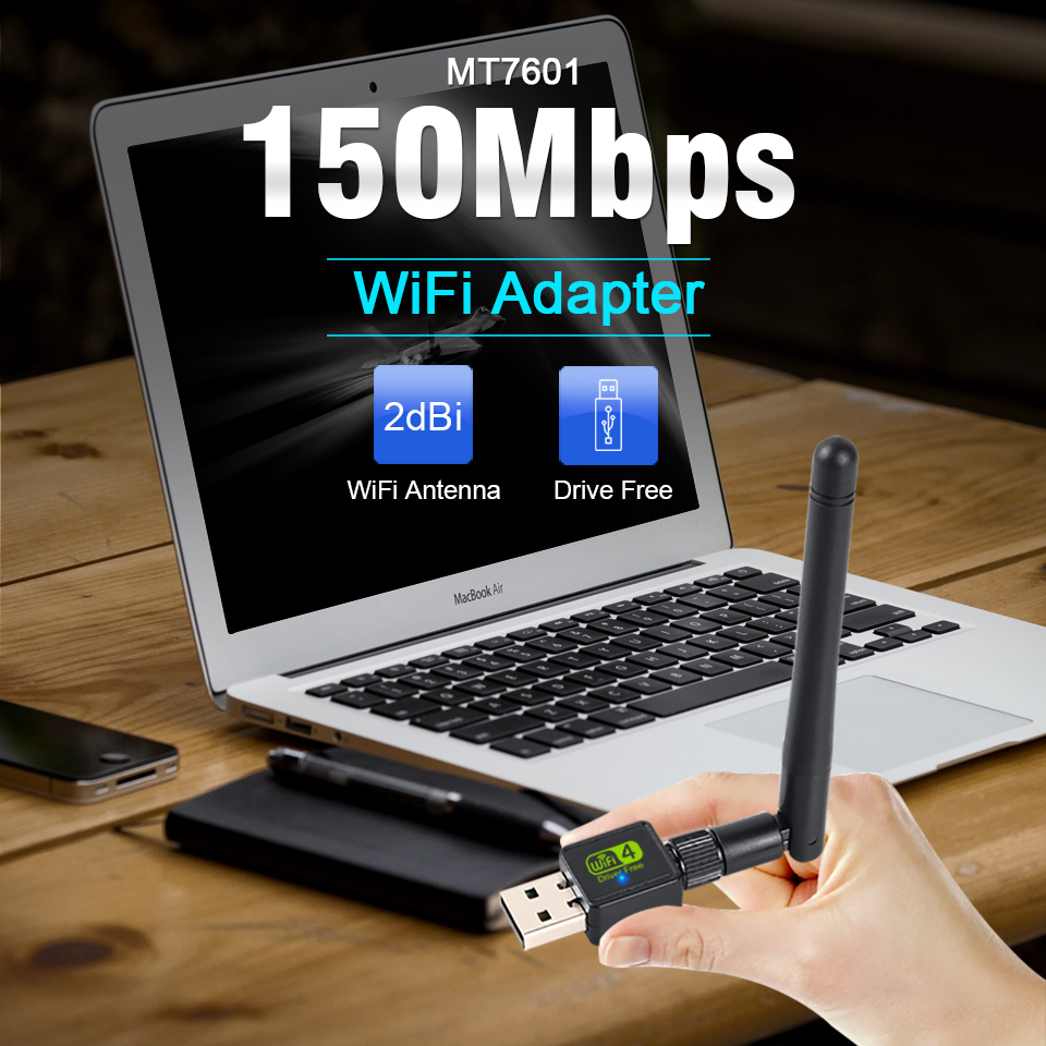 USB Wifi Adapter Antenna Wifi USB Wi fi Adapter Card Wi-fi Adapter Ethernet Wifi Dongle MT7601 Free Driver For PC Desktop laptop 2