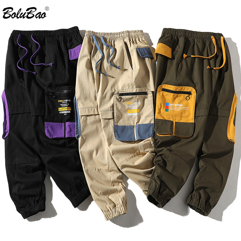 BOLUBAO Spring New Men Casual Pants Men's Trend Wild Japanese Straight Pants Male Drawstring Cargo Pants Brand Clothing