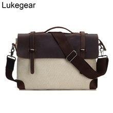 Lukegear Lona de cera de aceite maletín para hombre bolsas de ordenador impermeables Blanco marrón gris verde bolsa de mensajero Estilo Vintage