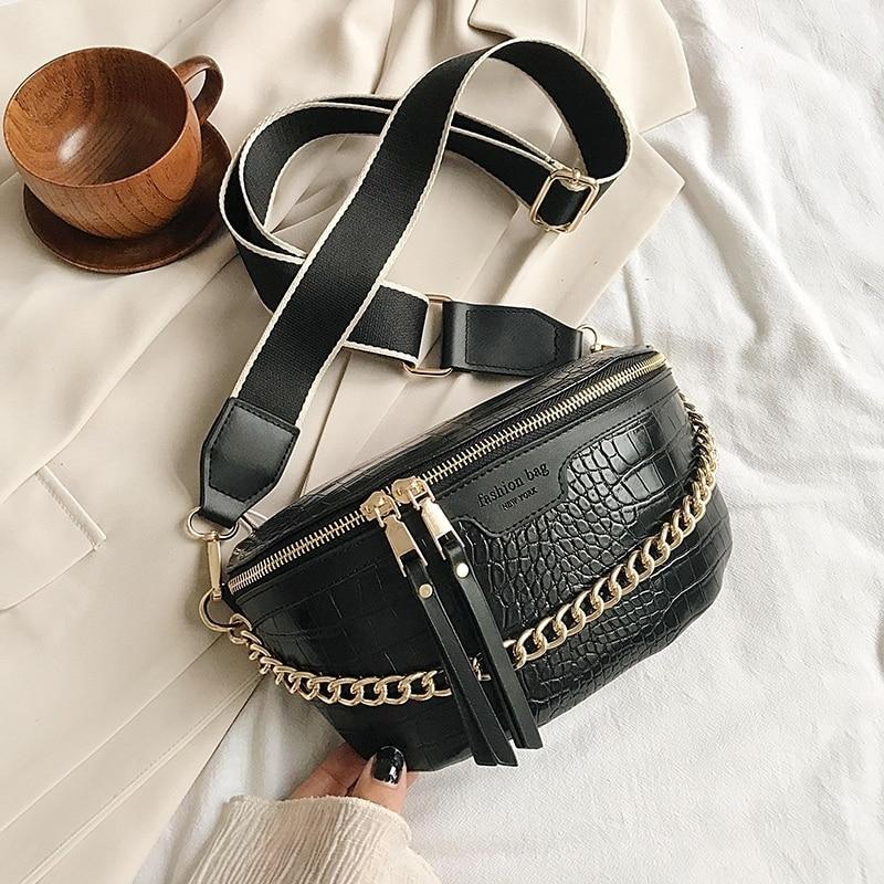 Luxury Women Leather Bag High Quality Waist Bag Thick Chain Shoulder Crossbody Chest Bag Female Belt sac Designer Brand Handbag